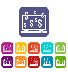 computer monitor and dollar signs icons set vector image