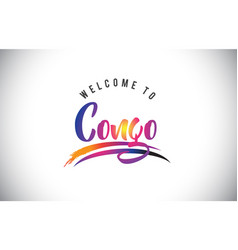 Congo welcome to message in purple vibrant modern vector