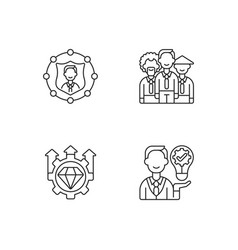 Corporate values linear icons set vector