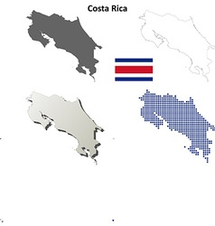 Costa Rica outline map set vector image