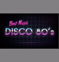 Disco 80s best music - banner retro 1980s neon vector