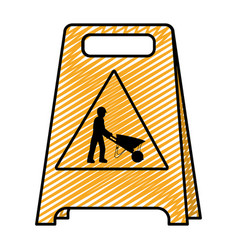 Doodle plastic caution emblem and laborer with vector