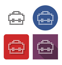 dotted icon briefcase in four variants with vector image