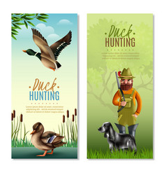 Duck hunting vertical banners vector