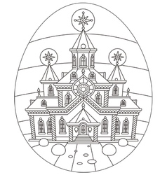 Easter egg with a church vector image