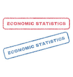 Economic statistics textile stamps vector