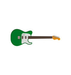 electric guitar green rock music instrument vector image