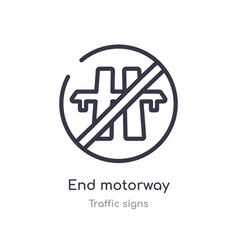 End motorway outline icon isolated line from vector