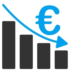 Euro Recession Bar Chart Flat Icon vector image
