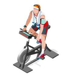 Exercise Bike Spinning Fitness Class Isometric 3D vector