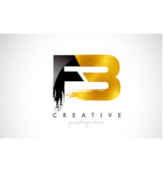 Fb letter design with brush stroke and modern 3d vector