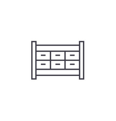 file cabinet drawer line icon sign vector image