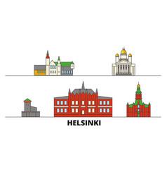 Finland helsinki flat landmarks vector