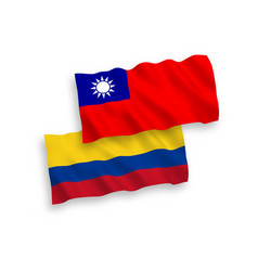 Flags colombia and taiwan on a white background vector