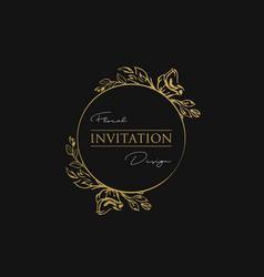 floral luxury invitation golden frame luxury vector image