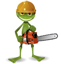 Frog with a chainsaw vector