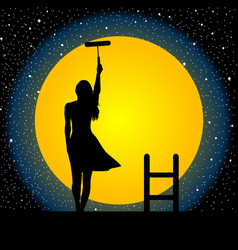 girl paints the moon and the stars vector image