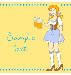Girl with a beer celebrating Oktoberfest vector