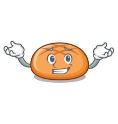 grinning hamburger bun character cartoon vector image