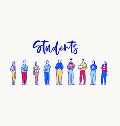 group students volunteers figures a sketch vector image