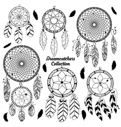 Hand drawn set with dreamcatchers vector