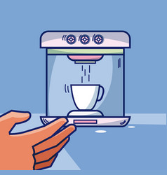 Hand grabbing coffee machine vector