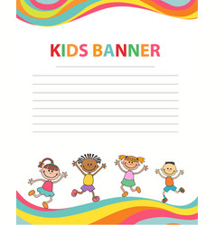 happy children run on the banner template vector image