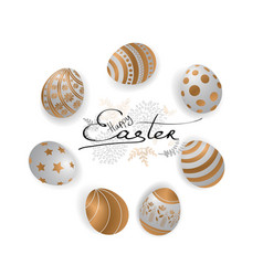 happy easter card with easter eggs and greetings vector image