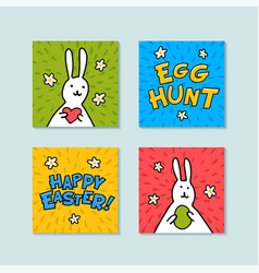 happy easter mini greeting cards egg hunt and vector image