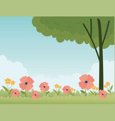 happy spring field flowers tree botanical floral vector image