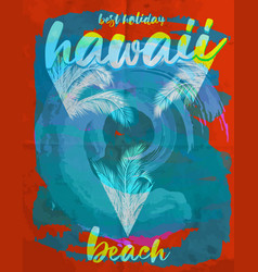 hawaii summer poster graphic design vector image