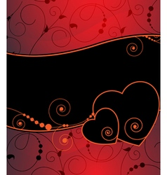 Hearts on a red abstract background vector