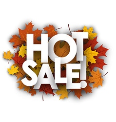 Hot sale background with maple leaves vector image