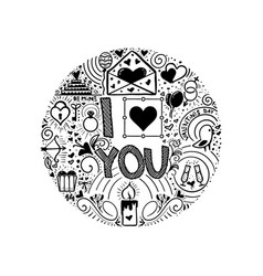 I love you doodle slogan for a t-shirt or poster vector