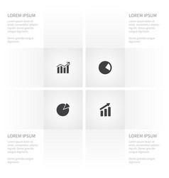 icon chart set of progress increase pie bar and vector image