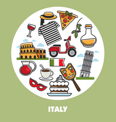 Italy travel landmark symbols poster vector