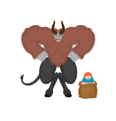 Krampus and boy anti santa claus for bad kids vector