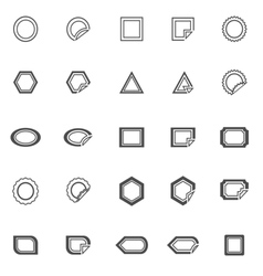 Label line icons on white background vector