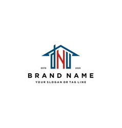 Letter dnu home roof logo design and business card vector