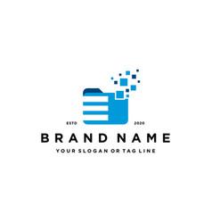 Letter e file folder logo design vector