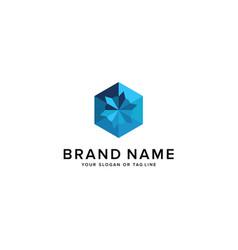 Logo design origami hexagon vector