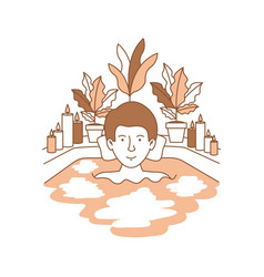 Man taking a bath tub with house vector