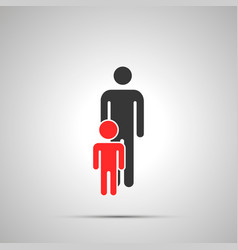 man with boy silhouette simple black icon with vector image
