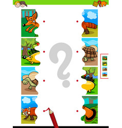 Match jigsaw puzzles of cartoon animal characters vector