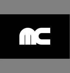 Mc m c black white bold joint letter logo vector