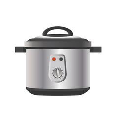 Modern multicooker for kitchen in metallic corpus vector