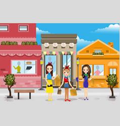 Modern women shopping vector