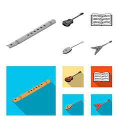 Musical instrument monochromeflat icons in set vector