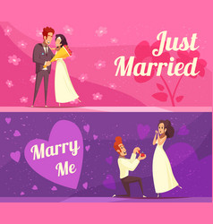 newlyweds cartoon banners vector image