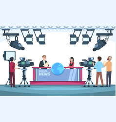 News tv show studio presenters broadcasting with vector